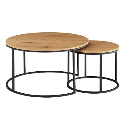 Set dvoch konferenčných stolíkov, dub/čierna, IKLIN