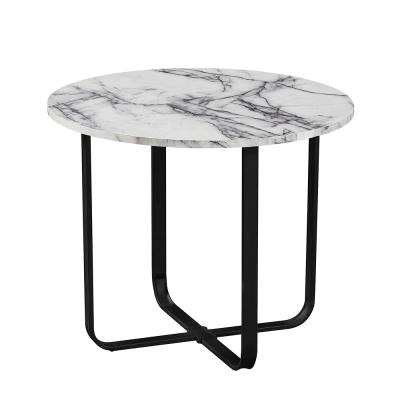 Konferenčný stolík, biely mramor/čierny kov, SALINO