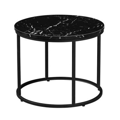 Konferenčný stolík, čierny mramor/čierny kov, GAGIN