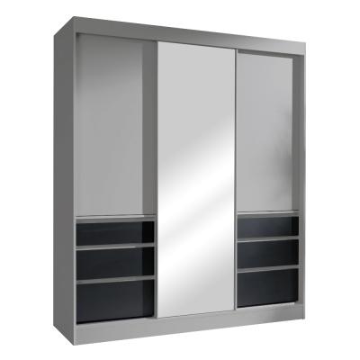 Skriňa s posúvacími dverami, sivá/čierna, 180, ROMUALDA