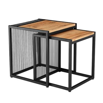 Konferenčné stolíky, set 2 ks, dub/čierny, RIMBO