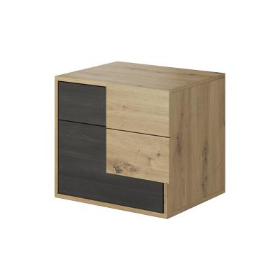 Nočný stolík, dub artisan/čierna borovica nórska, BAFRA