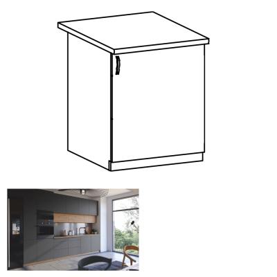 Spodná skrinka, dub artisan/sivý mat, pravá, LANGEN D60
