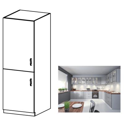 Skrinka na vstavanú chladničku, sivá matná/biela, ľavá, LAYLA D60ZL
