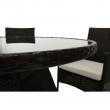 Záhradný 5-dielny ratanový set, tmavohnedá/krémová, RANDEL