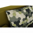 Pohovka rozkladacia, sivá/zelená/vzor vankúše, SPIKER