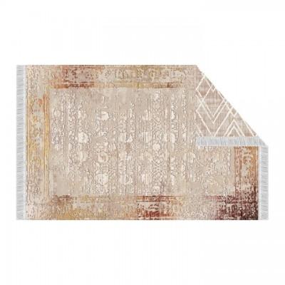 Obojstranný koberec, béžová/vzor, 120x180, NESRIN