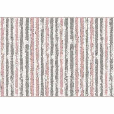 Koberec, ružová/sivá/biela, 67x120, KARAN