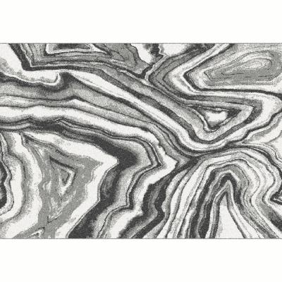 Koberec, biela/čierna/vzor, 133x190, SINAN