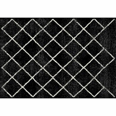 Koberec, čierna/vzor, 133x190 cm, MATES TYP 1