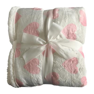 Obojstranná baránková deka, vzor srdce, 150x200, DALIS
