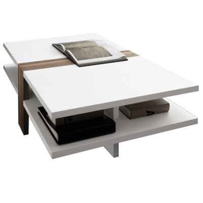 Konferenčný stolík, biela extra vysoký lesk HG/slivka, NAVIN