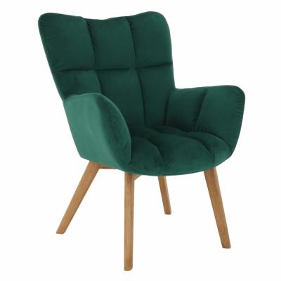 Dizajnové kreslo, smaragdová Velvet látka/dub, FONDAR