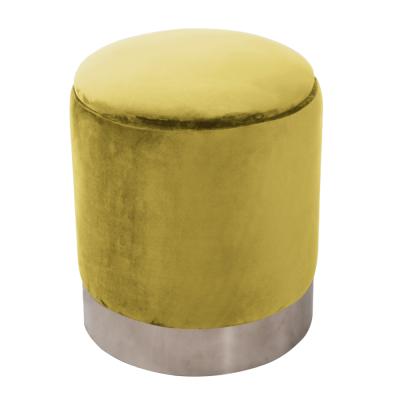 Taburet s úložným priestorom, zlatá Velvet látka/strieborná chróm, DARON