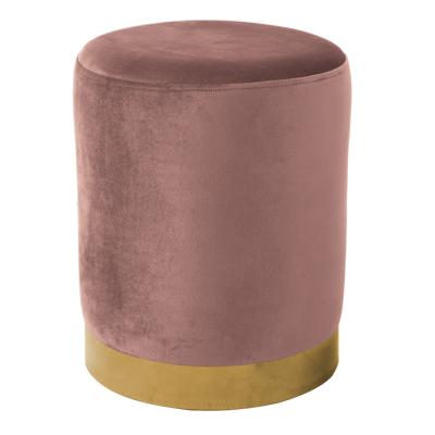 Taburet, ružová Velvet látka/gold chróm-zlatá, ALAZ
