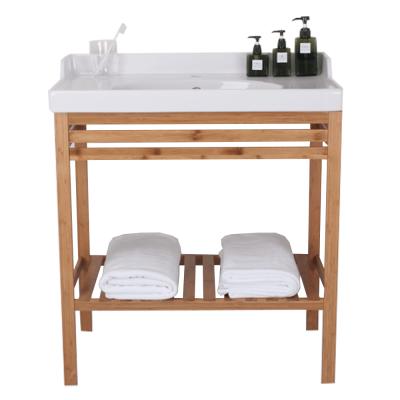 Stôl s keramickým umývadlom, prírodná/biela, SELENE TYP 6