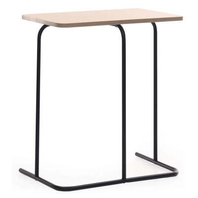 Príručný stolík, dub/čierna, LAVERNE TYP 2