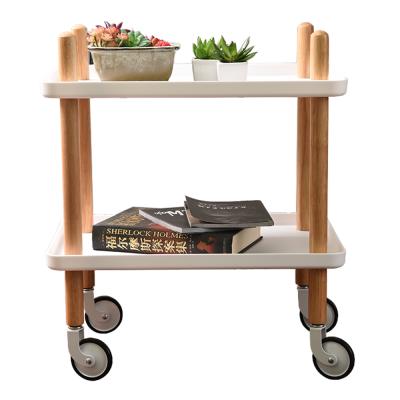 Servírovací vozík, prírodná/biela, PONTO