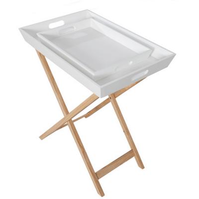 Servírovací stolík s dvomi snímateľnými táckami, biela/prírodná, NORGE