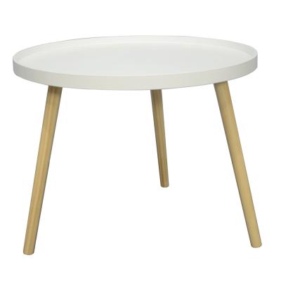 Príručný stolík, biela/prírodná, SANSE TYP 1