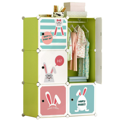 Detská modulárna skrinka, zelená/detský vzor, TEKIN