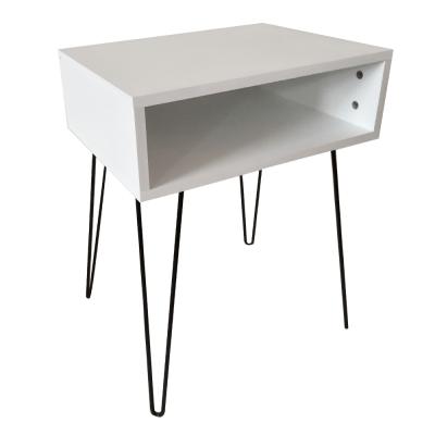 Príručný/nočný stolík, biela/čierna, HONEJ