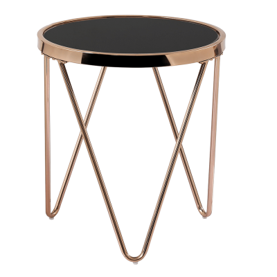 Príručný stolík, rose gold chróm ružová/čierna, VALERO