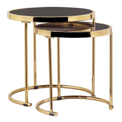 Set 2 konferenčných stolíkov, gold chróm zlatá/čierna, MORINO