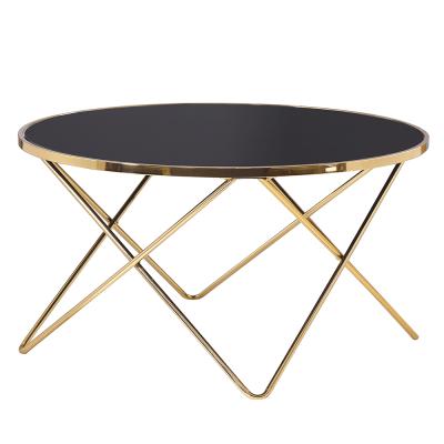 Konferenčný stolík, gold chróm zlatá/čierna, ROSALO