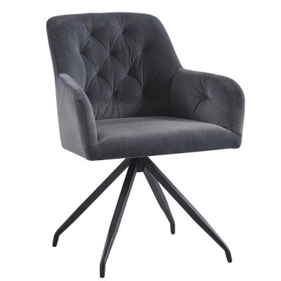 Otočná stolička, tmavosivá Velvet látka/čierna, VELEZA
