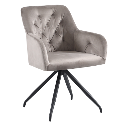 Otočná stolička, sivohnedá Taupe Velvet látka/čierna, VELEZA