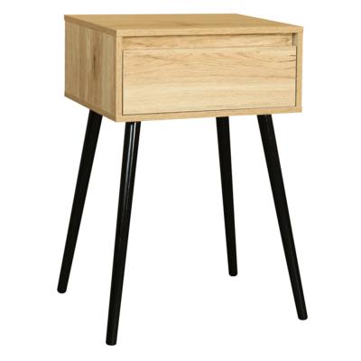 Príručný/nočný stolík, dub/čierna, ALYSANDRA TYP 1