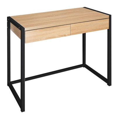 Písací stôl, dub/čierna, ALYSANDRA TYP 2