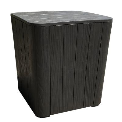 Záhradný úložný box/príručný stolík, čierna, IBLIS