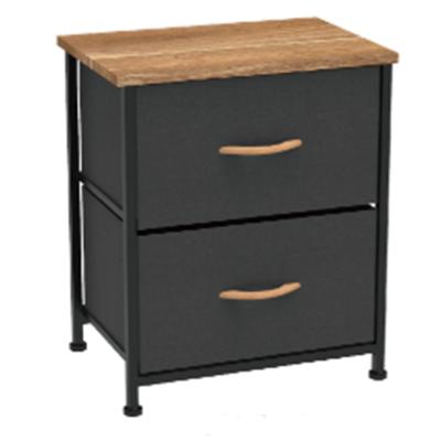 Komoda/nočný stolík s látkovými šuplíkmi, čierna/červený javor, KESIDY TYP 1