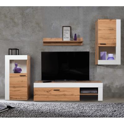Obývacia stena, dub wotan/biela, PLATINUM