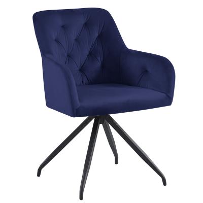Otočná stolička, modrá Velvet látka/čierna, VELEZA
