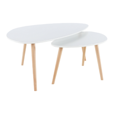 Konferenčné stolíky, set 2 ks, biela/buk, FOLKO NEW