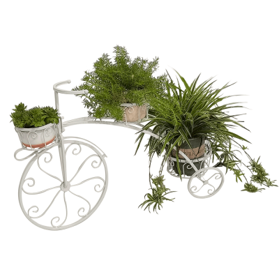 Retro kvetináč v tvare bicykla, biela, PAVAR
