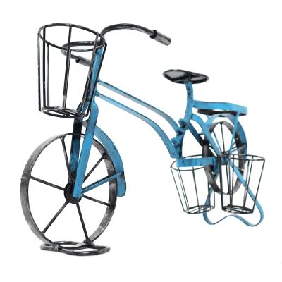 Retro kvetináč v tvare bicykla, čierna/modrá, ALBO