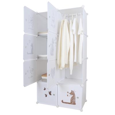Detská modulárna skriňa, biela/hnedý vzor, KIRBY