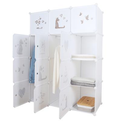 Detská modulárna skriňa, biela/hnedý detský vzor, KITARO