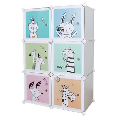 Detská modulárna skriňa, sivá/detský vzor, BIARO