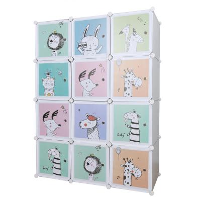 Detská modulárna skriňa, sivá/detský vzor, HAKON