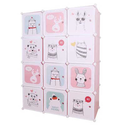 Detská modulárna skriňa, ružová/detský vzor, NURMI
