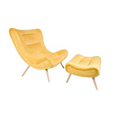 Kreslo s podnožou, žltá Velvet látka/kaučukové drevo, KIRILO
