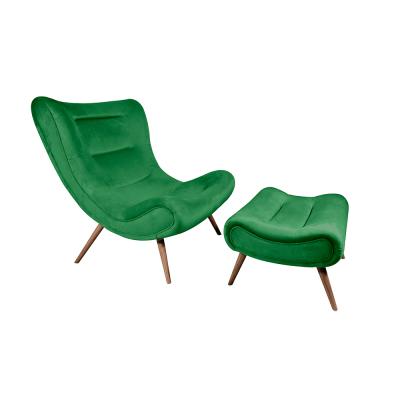 Kreslo s podnožou, zelená Velvet látka/kaučukové drevo, KIRILO