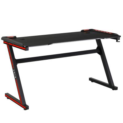 Herný stôl/počítačový stôl, s RGB LED osvetlením, čierna/červená, MACKENZIE 140cm