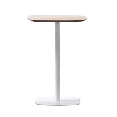 Barový stôl, dub/biela, MDF/kov, HARLOV