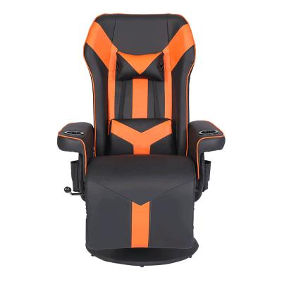 Herné kreslo s podnožou, čierna/oranžová, ELRAN